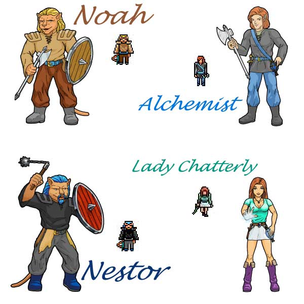 Alchemist with Clan Members Noah, Nestor, and Lady Chatterly
